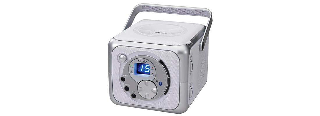 Jensen CD-555 White/Silver CD Bluetooth Boombox