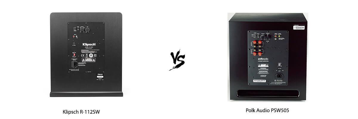 Klipsch R-112SW vs Polk Audio PSW505 back