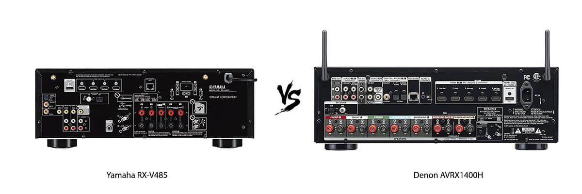 Yamaha RX-V485 vs Denon AVRX1400H back