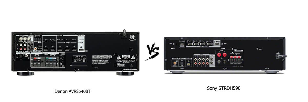 Denon AVRS540BT vs Sony STRDH590 back