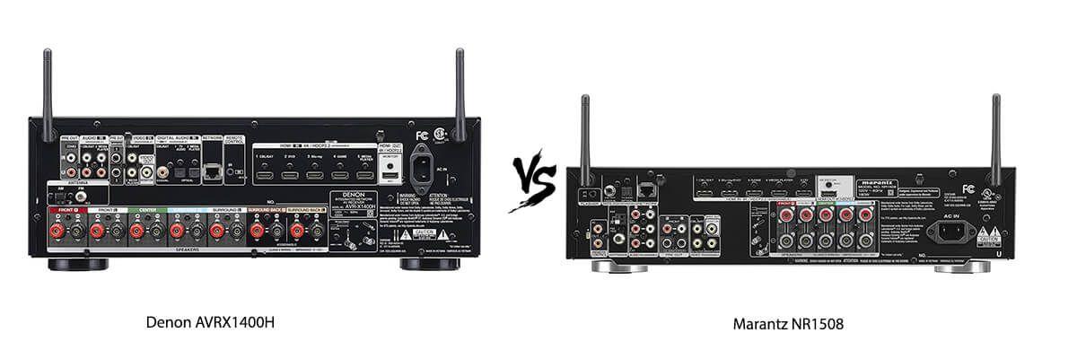 Denon AVRX1400H vs Marantz NR1508 back