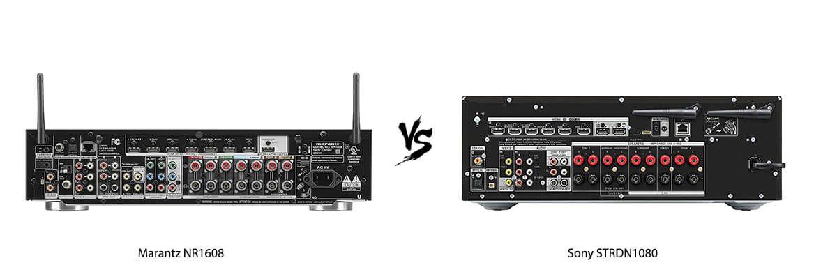 Marantz NR1608 vs Sony STRDN1080 back