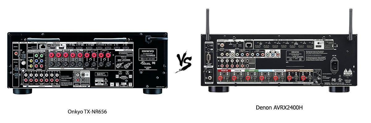 Onkyo TX-NR656 vs Denon AVRX2400H back