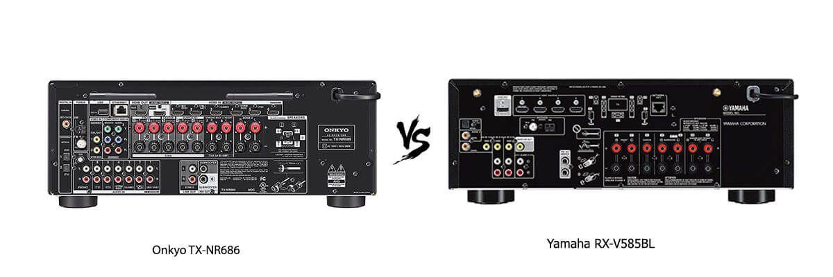Onkyo TX-NR686 vs Yamaha RX-V585BL back