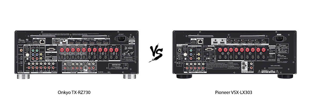 Onkyo TX-RZ730 vs Pioneer VSX-LX303 back