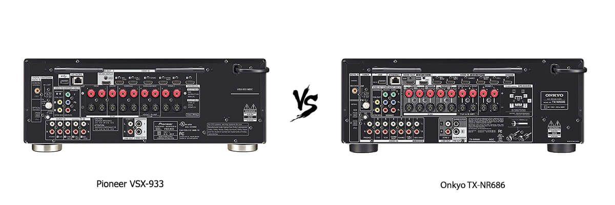 Pioneer VSX-933 vs Onkyo TX-NR686 back