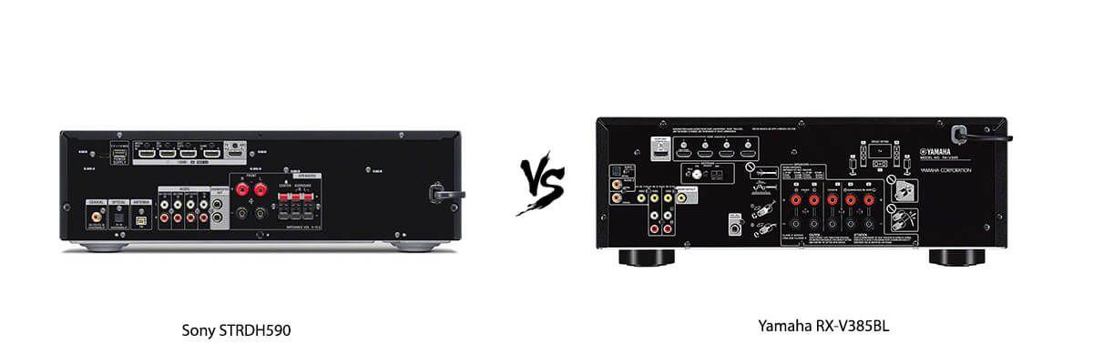 Sony STRDH590 vs Yamaha RX-V385BL back