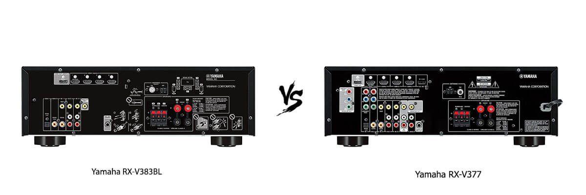 Yamaha RX-V383BL vs Yamaha RX-V377 back