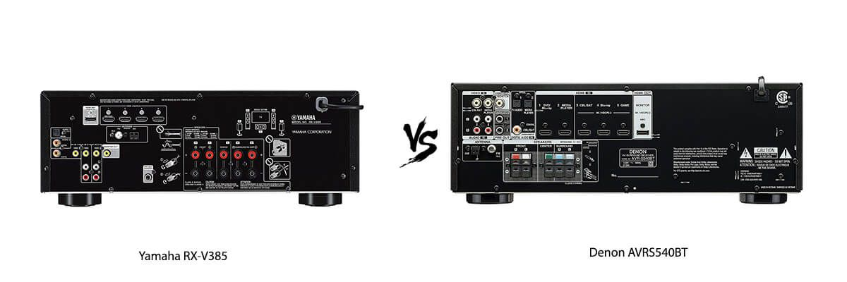Yamaha RX-V385 vs Denon AVRS540BT back