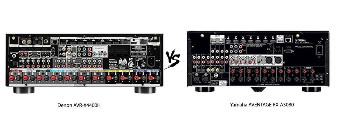 Denon AVR-X4400H vs Yamaha AVENTAGE RX-A3080 back