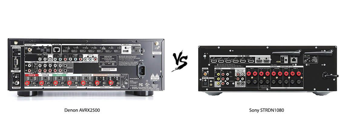 Denon AVRX2500 vs Sony STRDN1080 back