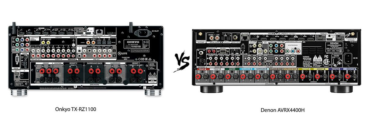 Onkyo TX-RZ1100 vs Denon AVRX4400H back