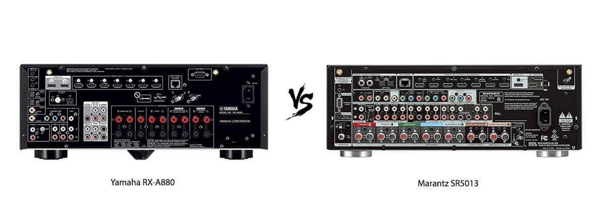 Yamaha RX-A880 vs Marantz SR5013 back