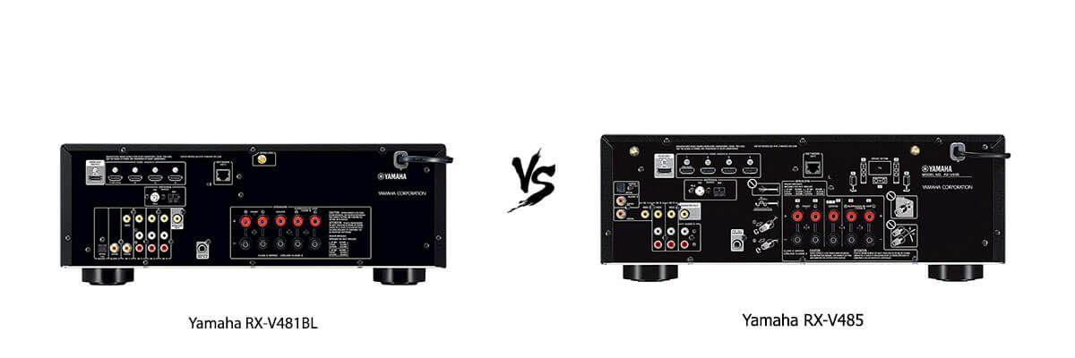 Yamaha RX-V481BL vs Yamaha RX-V485 back
