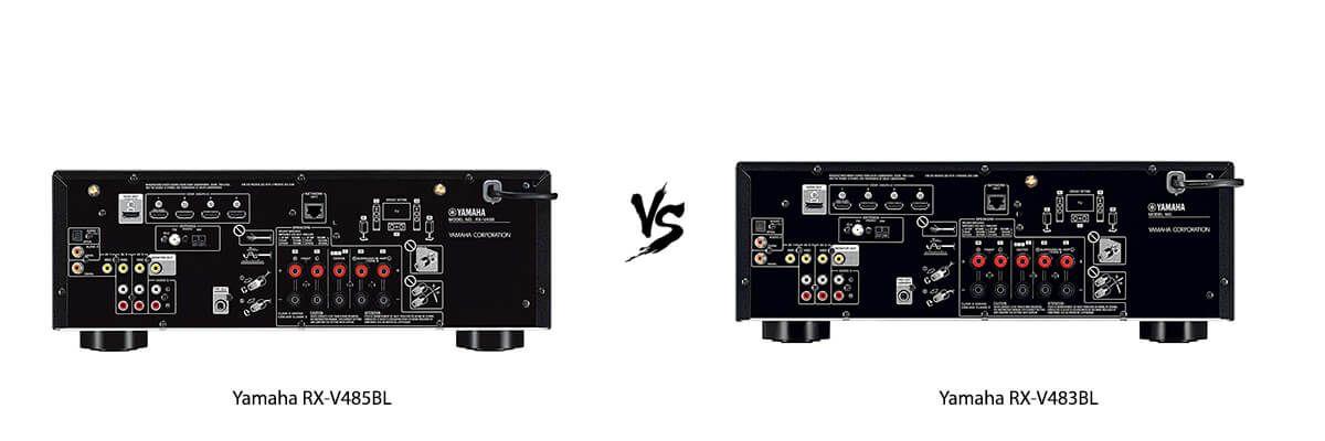 Yamaha RX-V485BL vs Yamaha RX-V483BL back