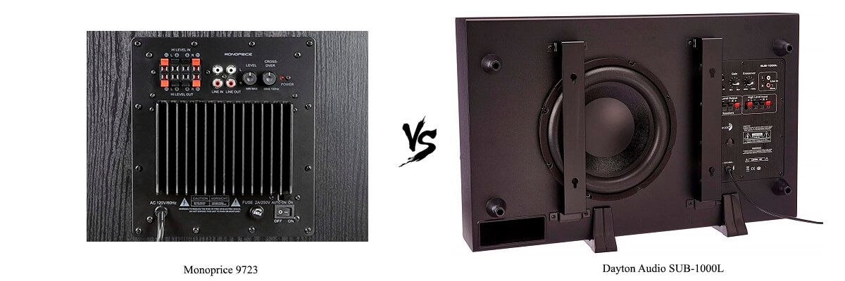 Dayton Audio SUB-1000L vs Monoprice 9723