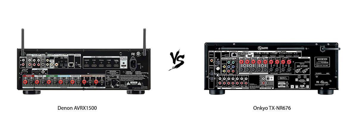 Denon AVRX1500 vs Onkyo TX-NR676 back