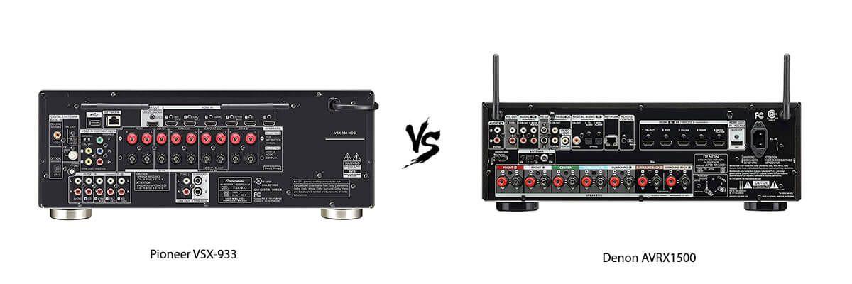 Pioneer VSX-933 vs Denon AVRX1500 back