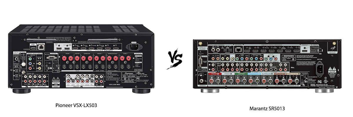 Pioneer VSX-LX503 vs Marantz SR5013 back
