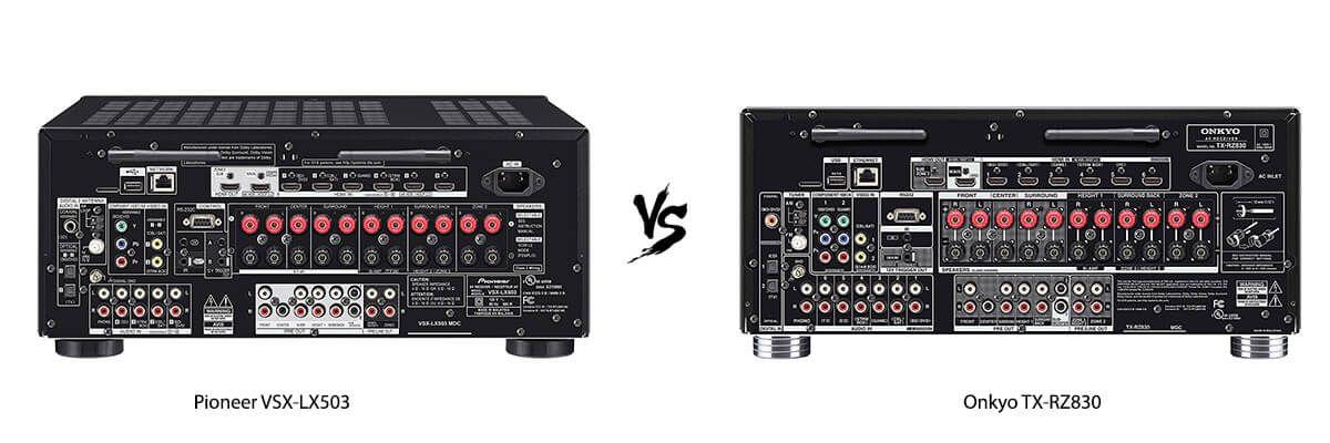 Pioneer VSX-LX503 vs Onkyo TX-RZ830 back