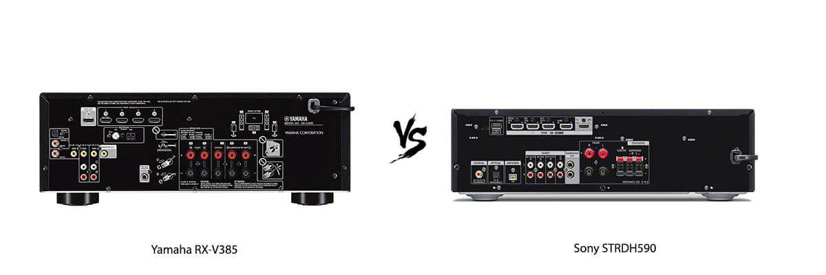 Yamaha RX-V385 vs Sony STRDH590 back