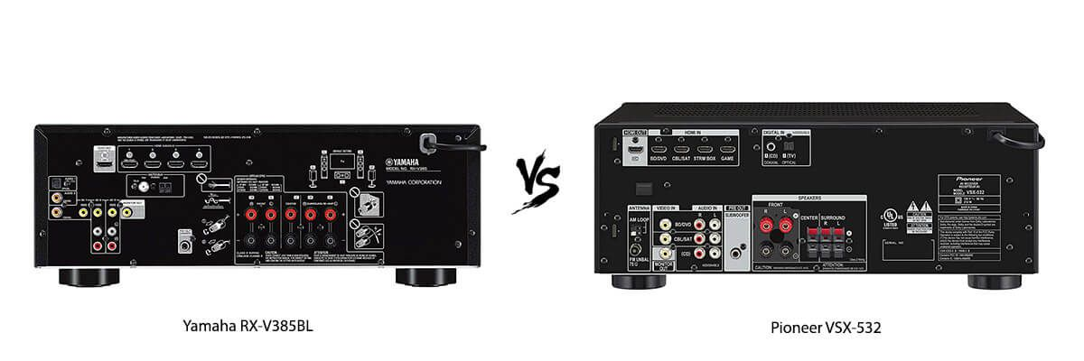Yamaha RX-V385BL vs Pioneer VSX-532 back