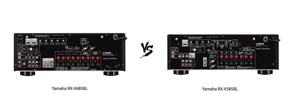 Yamaha RX-V685BL vs Yamaha RX-V585BL back