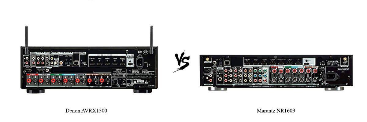 Denon AVRX1500 vs Marantz NR1609 back