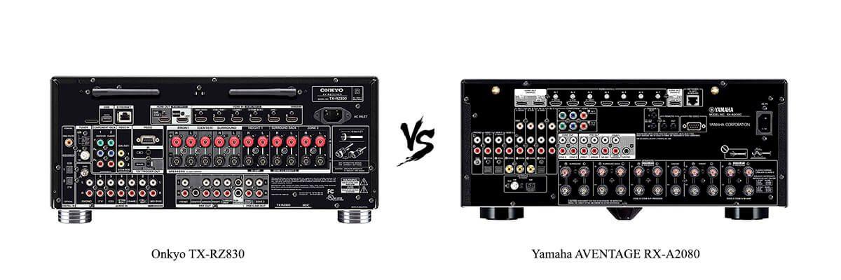 Onkyo TX-RZ830 vs Yamaha AVENTAGE RX-A2080 back