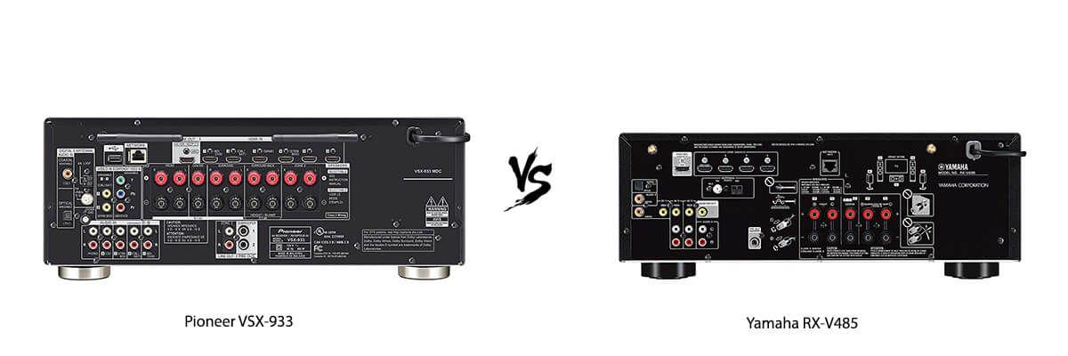 Pioneer VSX-933 vs Yamaha RX-V485 back