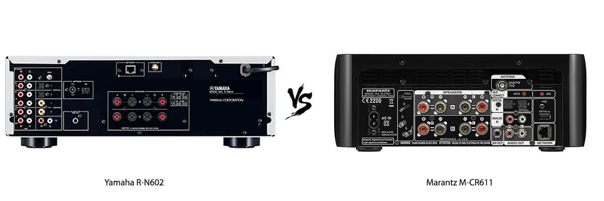 Yamaha R-N602 vs Marantz M-CR611 back