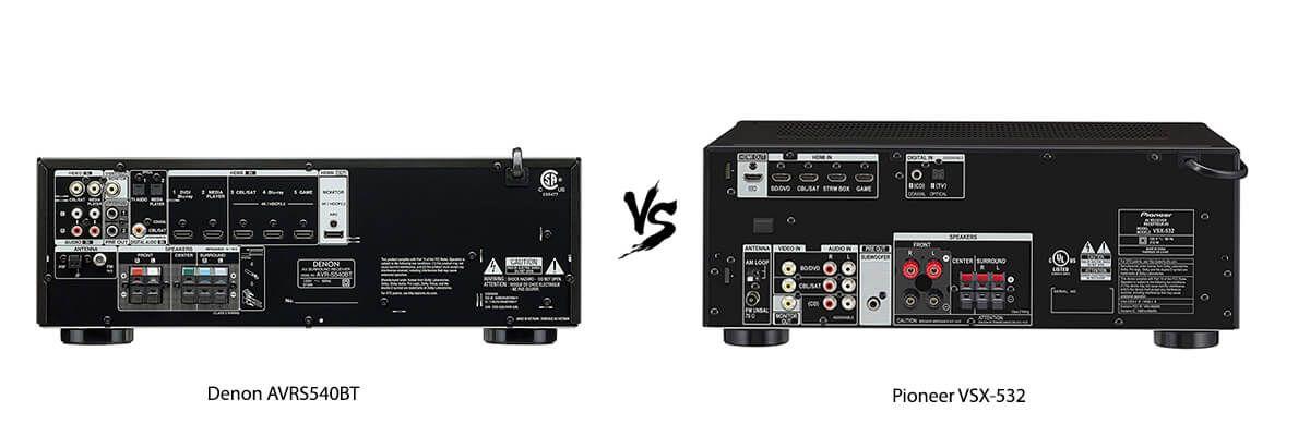 Denon AVRS540BT vs Pioneer VSX-532 back