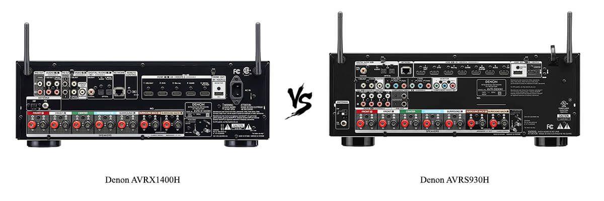 Denon AVRX1400H vs Denon AVRS930H back