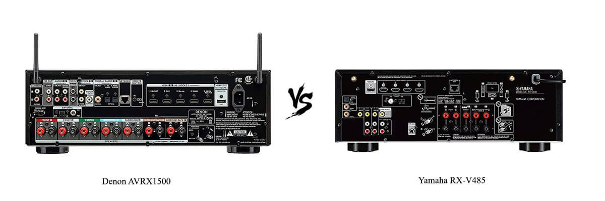 Denon AVRX1500 vs Yamaha RX-V485 back