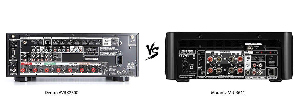 Denon AVRX2500 vs Marantz M-CR611 back