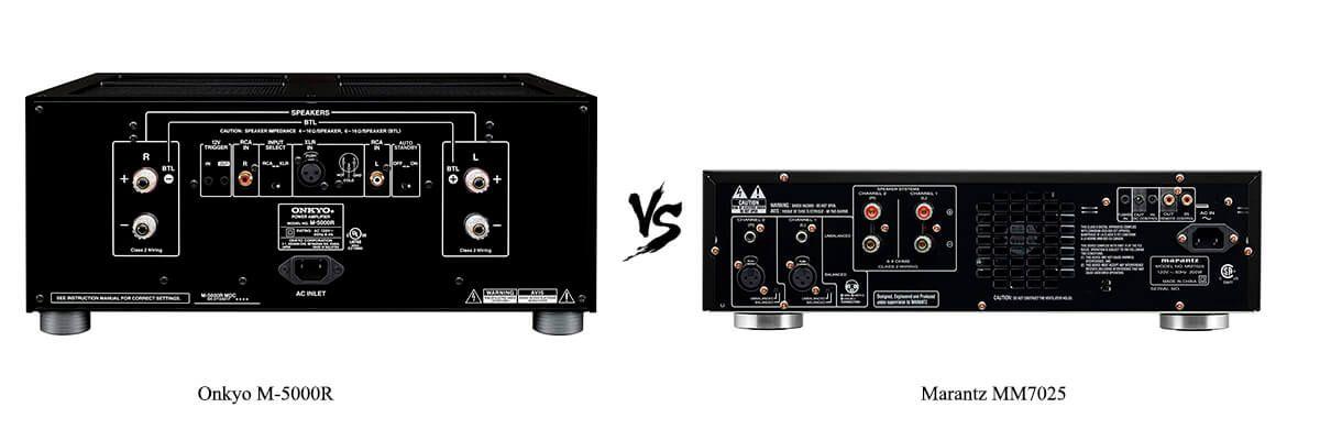 Onkyo M-5000R vs Marantz MM7025 back