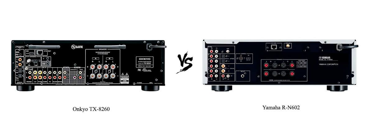 Onkyo TX-8260 vs Yamaha R-N602 back