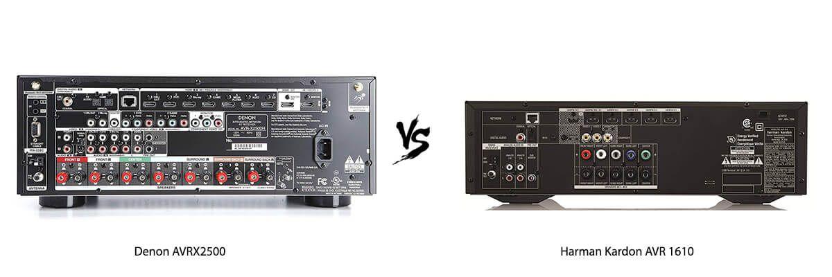 Denon AVRX2500 vs Harman Kardon AVR 1610 back