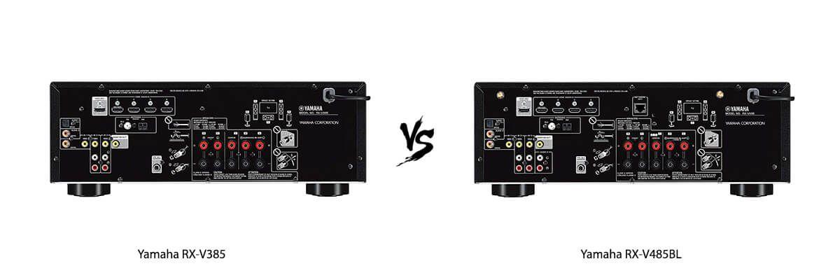 Yamaha RX-V385 vs Yamaha RX-V485BL back