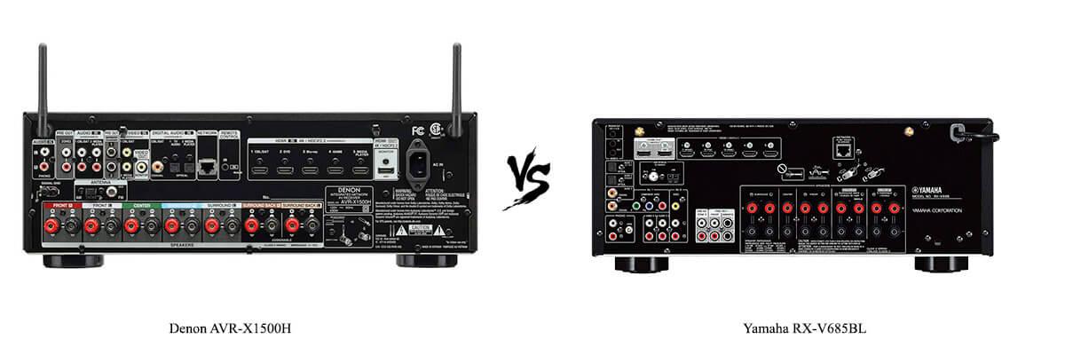 Denon AVR-X1500H vs Yamaha RX-V685BL back