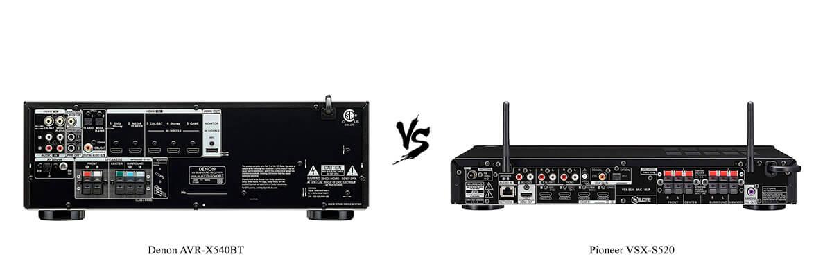 Denon AVR-X540BT vs Pioneer VSX-S520 back