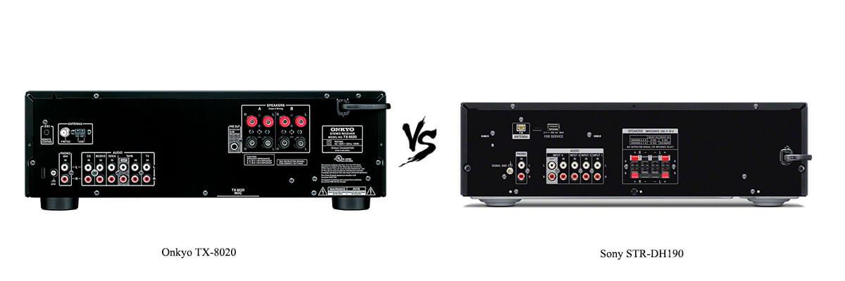 Onkyo TX-8020 vs Sony STR-DH190 back