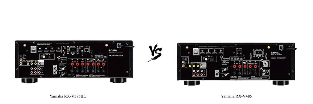 Yamaha RX-V585BL vs Yamaha RX-V485 back