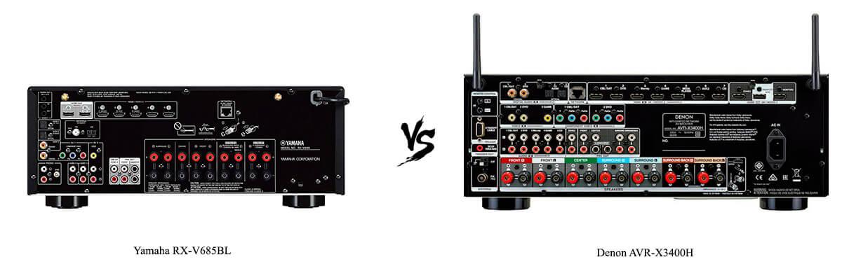 Yamaha RX-V685BL vs Denon AVR-X3400H back